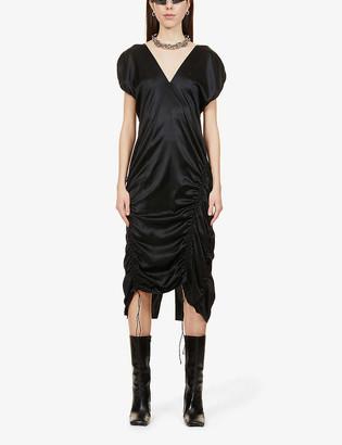 Helmut Lang V-neck ruched silk-blend dress