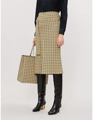 Victoria Beckham Checked wool-blend skirt