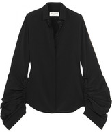 Saint Laurent Ruched Silk Crepe De Chine Shirt - Black