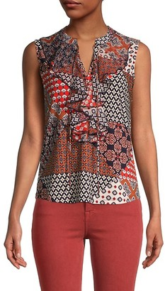 Tommy Hilfiger Mixed-Print Ruffle Sleeveless Top