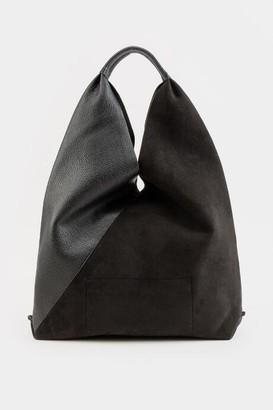 francesca's Danne Faux Suede Boho Satchel Handbag - Black