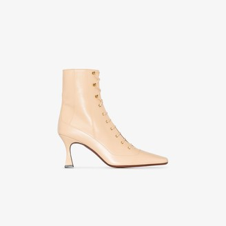 MANU Atelier Cream Duck 80 leather lace-up boots