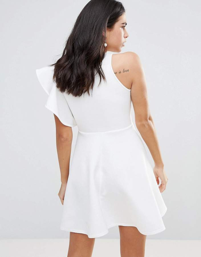Club L One Shoulder Ruffle Detailed Skater Dress