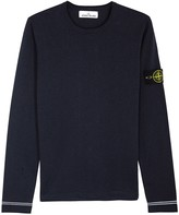 Stone Island Blue Fine-knit Cotton Jumper