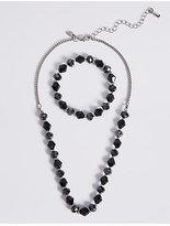 M&S Collection Assorted Multi-Faceted Sparkling Bead Necklace & Bracelet Set