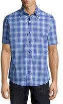 Zachary Prell Plaid Woven Short-Sleeve Shirt, Blue
