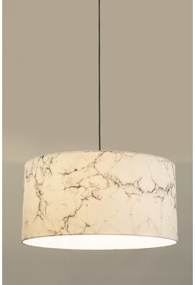 "Innermost Marble Shade 10"" H x 13"" W Polyester Drum Pendant Shade ( Screw On Finish: White"