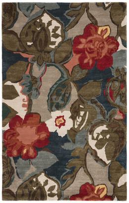Jaipur Living Floral & Leaves Pattern Wool & Art Silk Blue Area Rug, Dress Blues, 5'