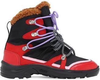 Stella McCartney Kids Nylon Canvas & Faux Fur Boots