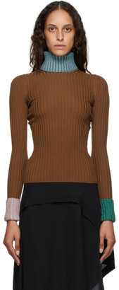 Lanvin Orange Rib Knit Turtleneck Sweater