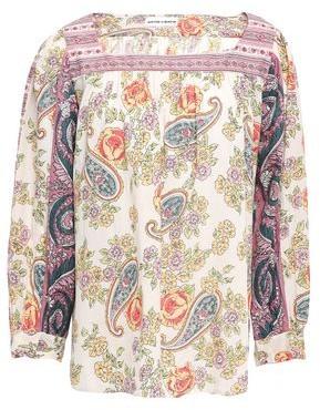 Antik Batik Soleil Patchwork-effect Floral-print Cotton-mousseline Blouse
