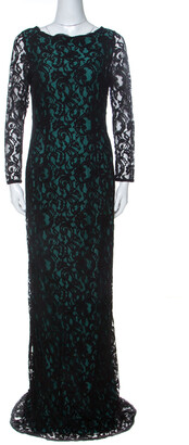 Carolina Herrera Green and Black Lace Long Sleeve Gown M