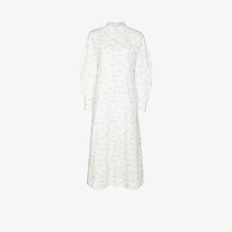Ganni Cat Print Cotton Shirt Dress