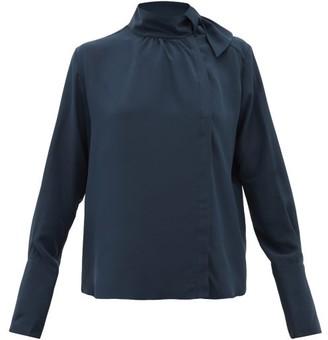 Fendi Tie-neck Silk Crepe De Chine Blouse - Navy