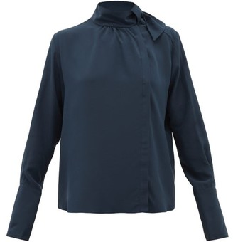 Fendi Tie-neck Silk Crepe De Chine Blouse - Womens - Navy