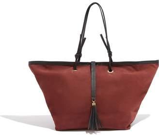 Oasis Womens Natural Leather Tassel Tote Bag - Natural