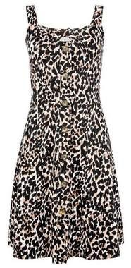 Dorothy Perkins Womens Black Animal Print Cami Cotton Blend Dress, Black