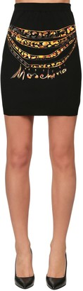 Moschino Printed Stretch Jersey Mini Skirt