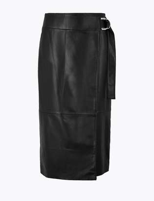 AutographMarks and Spencer Leather Wrap Pencil Midi Skirt