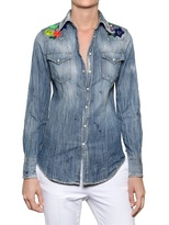DSquared Embroidered Cotton Denim Shirt