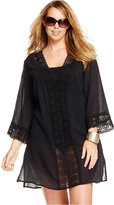 LaBlanca La Blanca Plus Size Crochet-Trim Tunic Cover-Up