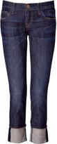 3/4-Length Dark Blue Boyfriend Jeans