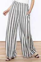 Love in Ivory And Charcoal Stripe Pants