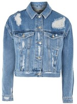 Topshop MOTO Fitted Ripped Denim Jacket