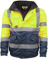 STS Mens Waterproof Two Tone Bomber Jacket Hi Vis Visibility Work Wear Hi Vis Standard
