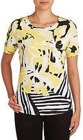 Allison Daley Wide Crew Neck Floral Stripe Print Knit Top