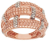 As Is Silver Style Basket Weave Diamond Cut Sterling Domed Ring