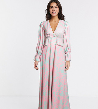 Twisted Wunder exclusive maxi dress in floral stripe mix