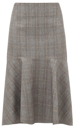 Balenciaga Prince Of Wales-check Wool Midi Skirt - Womens - Grey