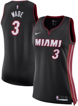 Nike Women's Dwyane Wade Black Miami Heat Finished Swingman Jersey - Icon Edition
