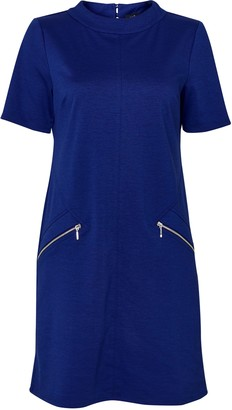 Wallis PETITE Blue High Neck Shift Dress