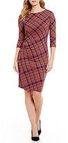 J.Mclaughlin Sage Ruched 3/4 Sleeve Plaid Dress