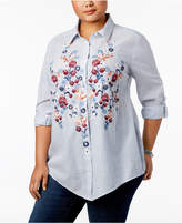 Style&Co. Style & Co Plus Size Embroidered Striped Shirt, Only at Macy's
