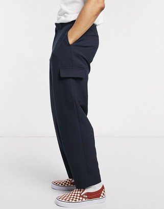 Hatch ASOS DESIGN drop crotch tapered crop smart trousers in cross with cargo pocket in navy