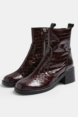 Topshop Womens Mother Burgundy Crocodile Round Toe Leather Boots - Burgundy