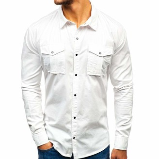 iYmitz Men's Solid Color Pocket Button Down Workwear Long Sleeve Shirt Casual Lapel Shirt Convertible Sleeve Shirt Two Pockets Button Down Shirt Polyester Sport Casual Overshirt White