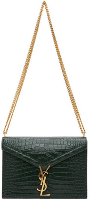 Saint Laurent Green Croc Medium Cassandra Bag