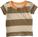 Burt's Bees Baby Rugby Stripe Cut Neck Tee (Baby) - Olive Sprig-0-3 Months