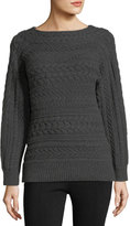 Ralph Lauren Cable-Knit Dolman-Sleeve Cashmere Sweater