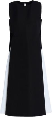 Valentino Cutout Two-tone Wool Midi Dress