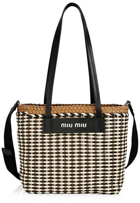 Miu Miu Large Woven Leather Tote