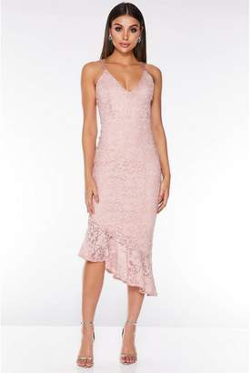 Quiz Pink Lace Glitter Asymmetric Hem Midi Dress
