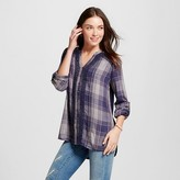 Women's Twill Plaid Button Down Woven Tunic - Knox Rose
