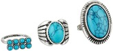 Steve Madden Round and Oval Turquoise Stone Three-Piece Ring Set