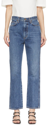 AGOLDE Blue Pinch Waist High Rise Kick Jeans
