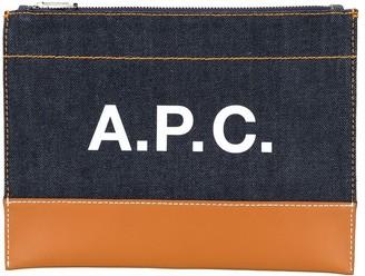 A.P.C. logo denim zipped clutch